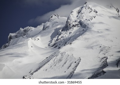 Mount Hood in June 2009. A close up view of the peaks and the sharp jagged edges,