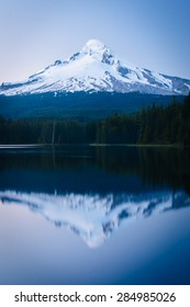 Mount Hood reflecting in Trillium Lake at twilight, in Mount Hood National Forest, Oregon.
