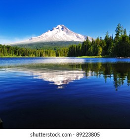 The Mount Hood reflection in Trillium Lake