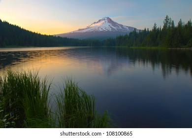 Mount Hood with reflections on Trillium Lake