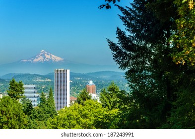 Mount Hood rising above downtown Portland, Oregon