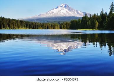 Mount Hood and the trillium Lake
