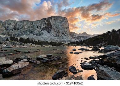 """Mount Hooker Sunset"".  Bridger-Teton National Forest.  Wind River Range, Wyoming."
