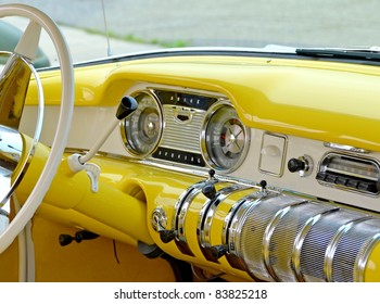 MOUNT HOPE, ONTARIO - AUGUST 14: The interior of a vintage 1955 Buick Special on display at the Vintage Wheels and Wings show at the Hamilton Airport on August 14, 2011 in Mount Hope, Ontario