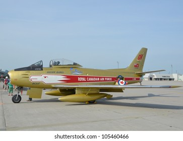 MOUNT HOPE , ONTARIO, CANADA - JUNE 16: Canadair Sabre painted in Royal Canadian Airforce Golden Hawks colours displayed at the Hamilton Airshow on June 16, 2012 in Mount Hope, Ontario Canada