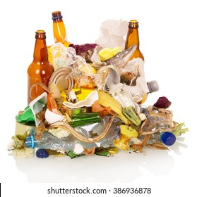 Mount household and food waste isolated on white background.