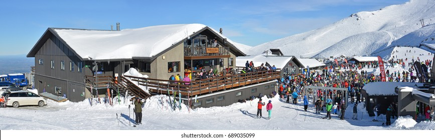 Mount Hutt, New Zealand - July 30, 2017: Panoramic view of Huber's Restaurant at Lunch Time. Skiers prepare to ride on the Chairlift at Mount Hutt Ski Field, NZ.