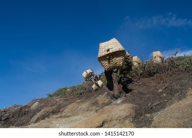 In Mount Ijen, there are many sulfur miner. They use traditional wood basket made from bamboo to bring the sulfur.