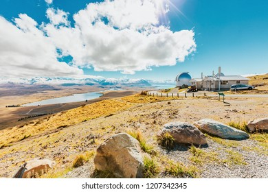 Mount John's Observatory at Mt John in autumn season near Tekapo lake Southern Alps mountain valleys New Zealand
