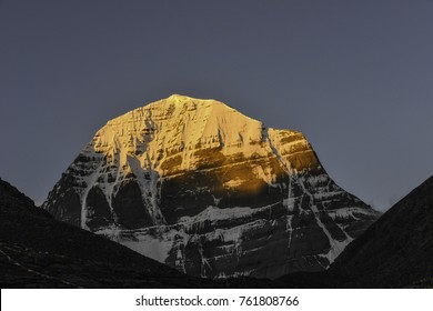 Mount Kailash north face with early morning sun rays, in Tibet