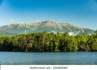 Mount Katahdin lake and mountain view