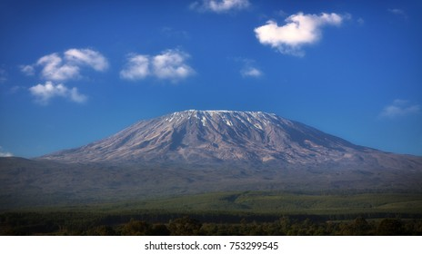 Mount Kilimanjaro with blue sky and clouds, Tanzania