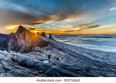 Mount Kinabalu, near Low's Peak, about 3900m. This is sunrise.