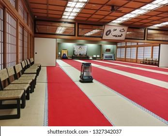 Mount Koya, Japan - Jan 08, 2019 : Resting hall for pilgrims in Kongobuji Temple, most famous Buddhist Temple at Mount Koya, Wakayama Prefecture, Japan
