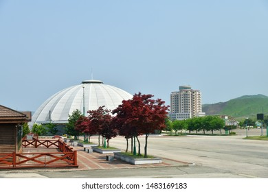 Mount Kumgang Tourist Region, North Korea - May 4, 2019: Touristic facilities built by South Koreans. Currently conserved and unused
