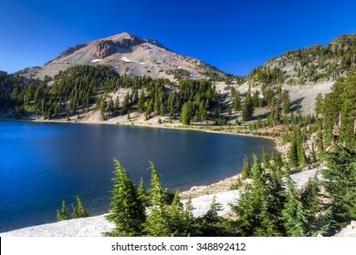 Mount Lassen above Lake Helen in Lassen Volcanic National Park, california, California.