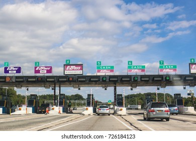 Mount Laurel, NJ - September 28, 2017: A toll booth on the New Jersey turnpike.