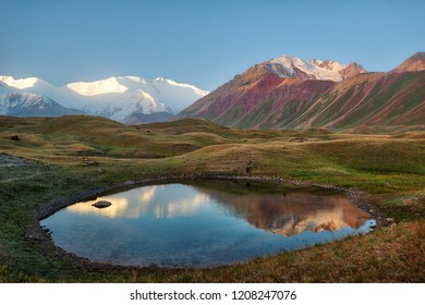 Mount Lenin seen from Basecamp in Kyrgyzstan taken in August 2018