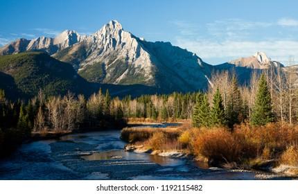 Mount Lorette in Kananaskis, Alberta, Canada in autumn