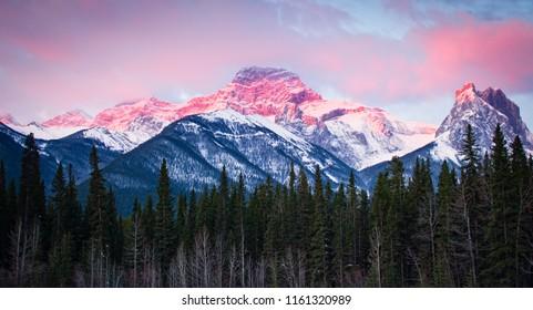 Mount Lougheed in Kananaskis, Alberta, Canada at Sunrise