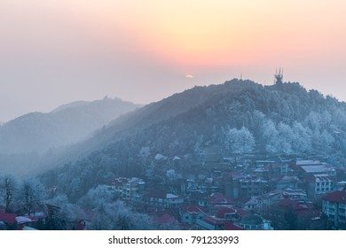 mount lushan in sunset, beautiful scenic spot is in winter, China.