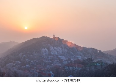 mount lushan in winter at dusk, a famous tourist attraction in China.