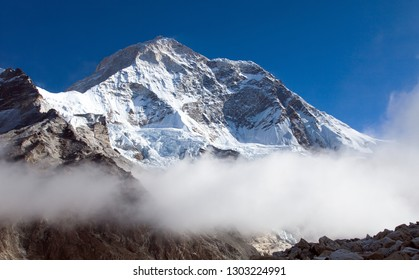 Mount Makalu with clouds, Nepal Himalayas mountains, Barun valley