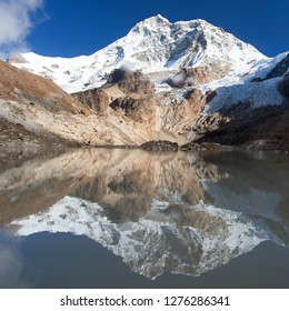 Mount Makalu mirroring in lake, Makalu Barun national park, Nepal Himalayas mountains