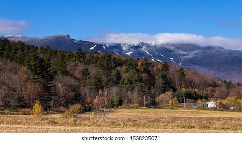 Mount Mansfield summit Vermont USA at falls landscape