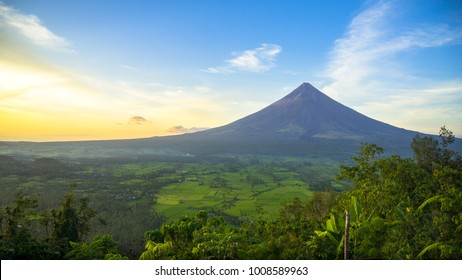 Mount Mayon Volcano, the most active in the Philippines, sits perfect as seen from Lignon Hill, Albay - Bicol.