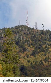 MOUNT MITCHELL; NORTH CAROLINA; USA - SEPTEMBER 22, 2017: Communication towers on top of Mount Mitchell, NC, the highest peak of the Appalachian Mountains and of  mainland eastern North America