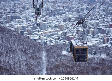 The Mount Moiwa Ropeway is climbing from the base of the mountain to the top to see panoramic view in winter of Sapporo, Hokkaido, Japan on 14 February 2018