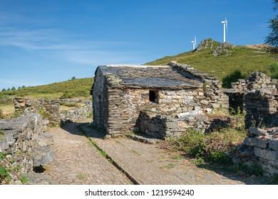 MOUNT MONTOUTO, SPAIN - AUGUST 26, 2018: Old chapel an pilgrim hospital on Mount Montouto, Camino de Santiago trail between Fonsagrada and O Cadavo on August 26, 2018 in Galicia, Spain