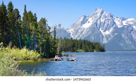 Mount Moran and the Teton Range, seen from Colter Bay, on Jackson Lake, Grand Teton National Park, Wyoming.