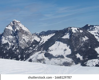 Mount Mythen of Schwyz, View from Stoos. Covered in snow at winter time.