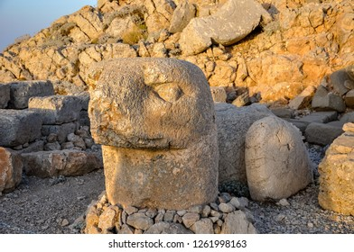 Mount Nemrut the head in front of the statues. The UNESCO World Heritage Site at Mount Nemrut where King Antiochus of Commagene is reputedly entombed.