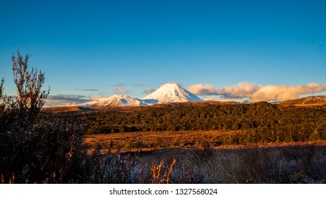 Mount Ngauruhoe also known as Mount Doom at sunset in Tongariro National Park in North Island, New Zealand during winter vacation.