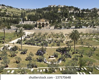 Mount of Olives, Church of All Nations and Church of Mary Magdalene, view from the walls of Jerusalem, Israel.
