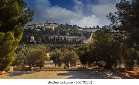 Mount of Olives view from Solomon's Temple grounds in Jerusalem, Israel