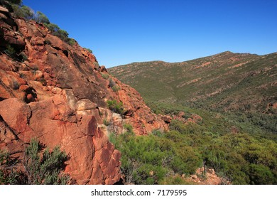 Mount Olsen Bagge, a section of Wilpena Pound, a vast elevated basin almost totally enclosed by rugged rock walls in South Australia.