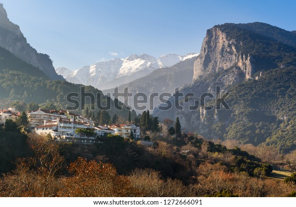 Mount Olympus behind the small village of Litochoro, Greece