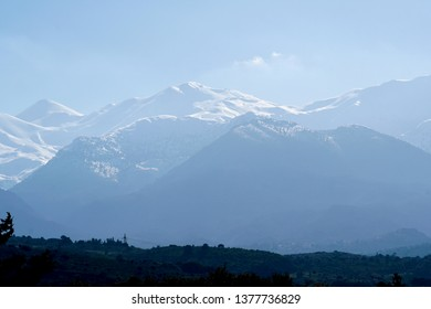 Mount Pachnes, Pakhnes, White Mountains, Lefka Ori, 2453 meters/ 8048 feet above sea level on the island of Crete, a mountain with snow cover in the winter like shown here on photos taken in March