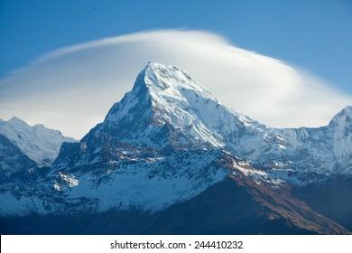 Mount peak Annapurna South At Sunrise In Himalayas