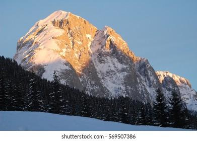 Mount Peralba (Hochweiss stein) in winter as seen from Val Visdende Valley (Dolomiti Alps Italy)