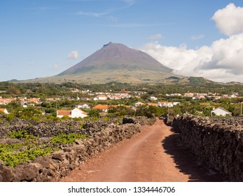 Mount Pico with vineyards and villages in the foreground, Pico Island, Azores