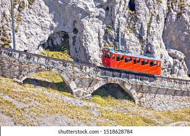 Mount Pilatus ascent on worlds steepest cogwheel railway, 48 percent, tourist landscape of Switzerland