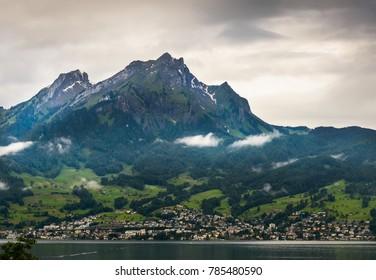 Mount Pilatus, Switzerland, as seen from the Lake Luzern.
