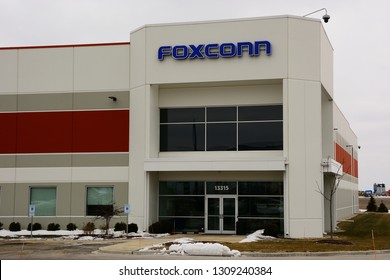 Mount Pleasant, Wisconsin / USA - February 10, 2019:  The façade of the local Foxconn headquarters building off East Frontage Road near the Highway 11 exit off I-94.