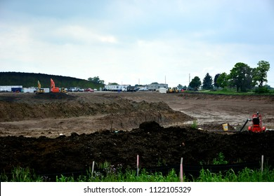 Mount Pleasant, Wisconsin / USA - June 27, 2018: Foxconn prepares for groundbreaking on June 28, with some work already in progress.