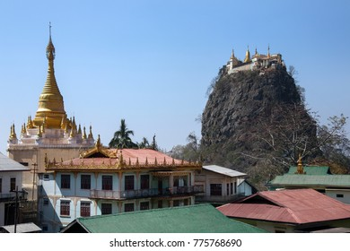 Mount Popa - an extinct volcano 1518m (4981ft) above sea level, located in central Burma (Myanmar) in the Pegu Range.  Mount Popa is best known for the Popa Taungkalat monastery at the top.